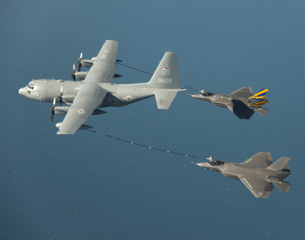 CF-2 Flight 158 with Mr. Dan Canin and CF-1 Flight 189 with LT Chris Tabert on 18 January 2013. First dual refueling of F-35C on KC-130 tanker. [Lockheed Martin]