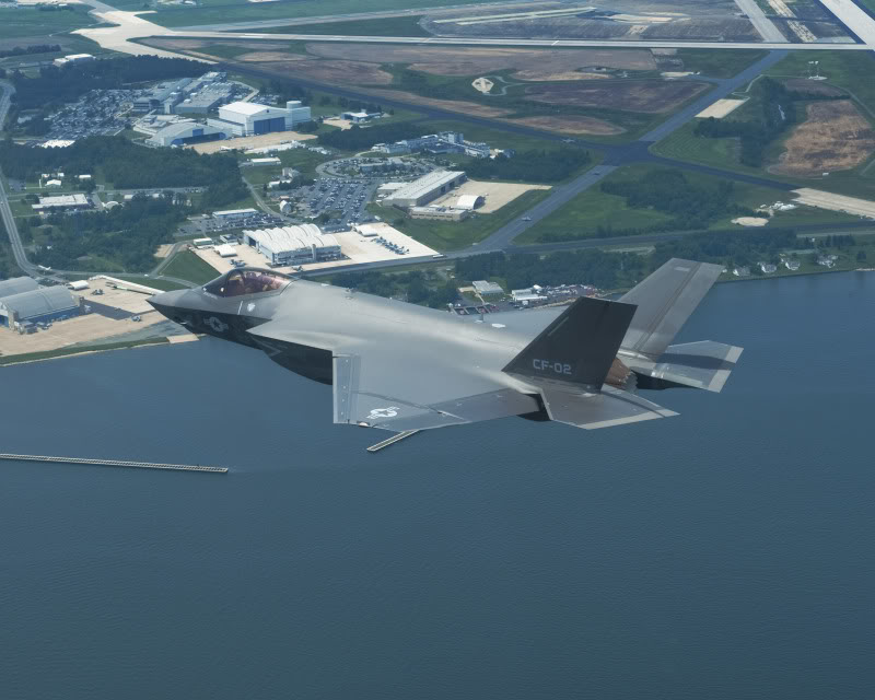 Navy F-35C flight text over Patuxent River