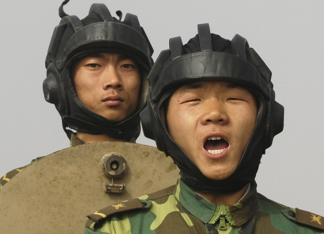 A People's Liberation Army soldier during a demonstration for visiting US officers.