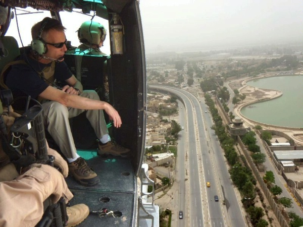 Diplomatic Security Service Director Jeffrey Culver studies Forward Operating Base Prosperity during a helicopter tour of Baghdad, Iraq, on May 18, 2011. When the U.S. military departs Iraq in the fall of this year, Diplomatic Security will still be responsible for the safety of thousands of U.S. Government personnel at Embassy Baghdad and throughout the country. To meet that mission, Diplomatic Security is ramping up abilities currently unique to the military, such as explosive ordnance disposal and downed-vehicle recovery. The 152-acre Prosperity site is integral to the security transition from the Department of Defense to the Department of State. (U.S. Department of State photo) http://www.state.gov/m/ds/rls/c53579.htm