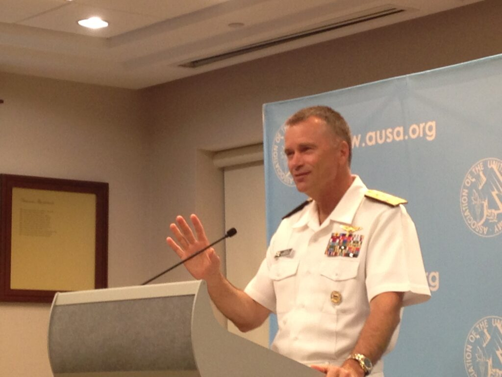 "Adm. James ""Sandy"" Winnefeld, Vice-Chairman of the Joint Chiefs, speaking to the Association of the US Army Thursday night."