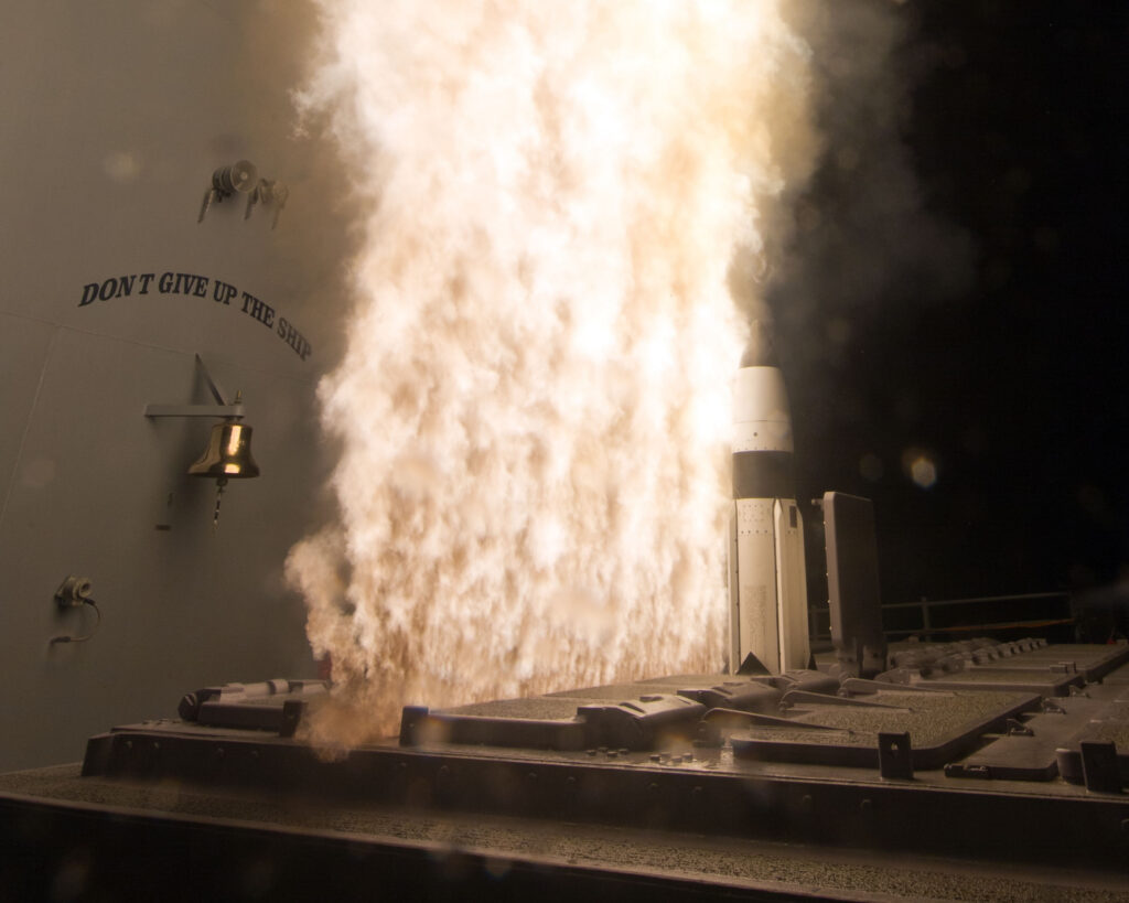 A Standard Missile-3 Block IA is fired from the USS Lake Erie on its way to destroy a medium-range ballistic missile target using a remote cue from a satellite sensor system. [http://www.raytheon.com/capabilities/products/sm-3/]