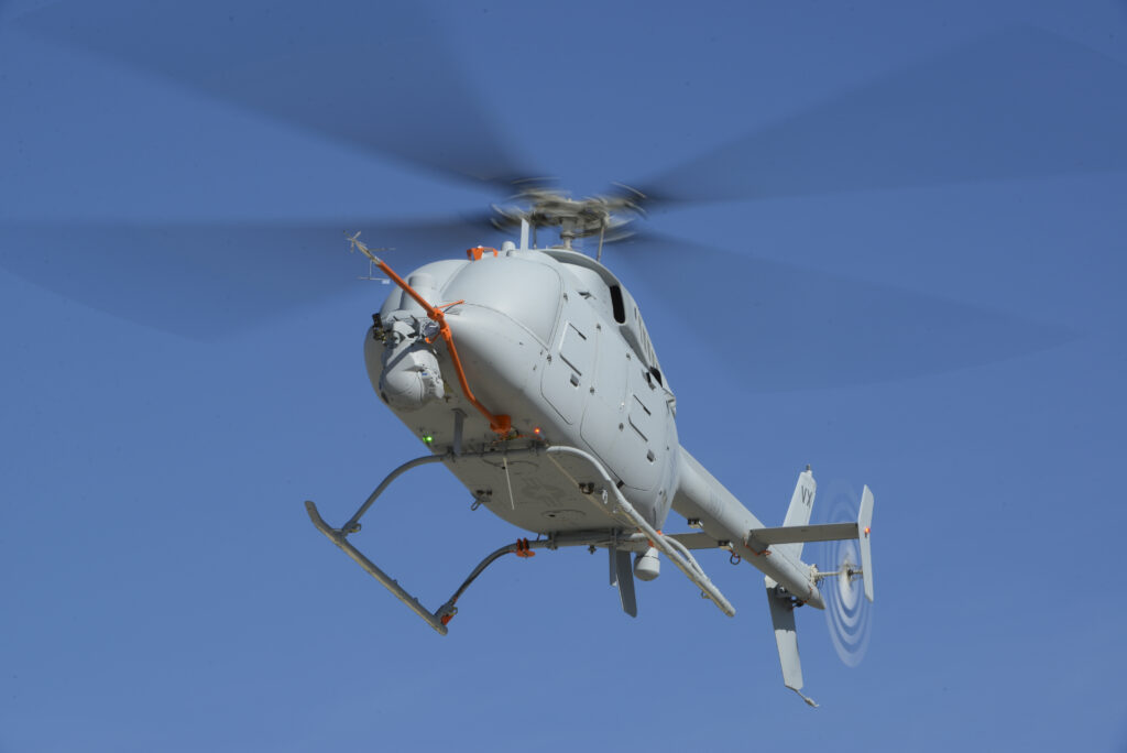 A second MQ-8C Fire Scout unmanned helicopter flew for the first time at Naval Base Ventura County, Pt. Mugu, Calif., on Feb. 12. Current flight tests are focused on validating the flight capabilities of the system before ship-based flights take place this summer. Northrop Grumman photo by Alan Radecki
