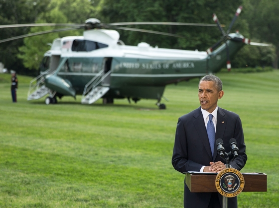 President Barack Obama delivers a statement regarding Iraq, prior to departure from the White House South Lawn aboard Marine One en route to Bismarck, N.D., June 13, 2014. (Official White House Photo by David Lienemann)
