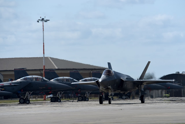 An F-35 from the 34th Fighter Squadron at Hill Air Force Base, Utah, taxis after landing at Royal Air Force Lakenheath, England, April 15, 2017. The fifth generation, multi-role fighter aircraft is deployed here to maximize training opportunities, affirm enduring commitments to NATO allies, and deter any actions that destabilize regional security. (U.S. Air Force photo/Airman 1st Class Eli Chevalier)