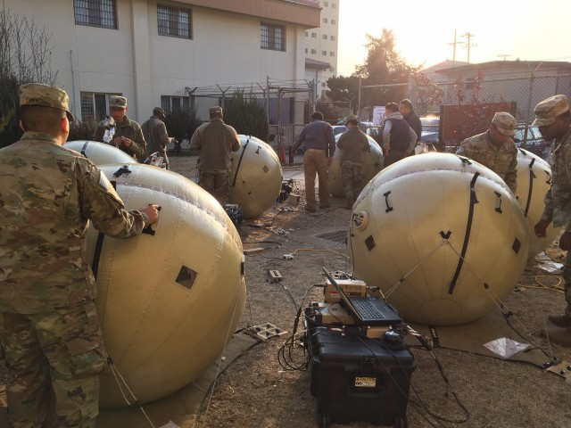 Soldiers from the Eighth Army are shown training on the Inflatable Satellite Antenna (ISA) improvement to the Combat Service Support Very Small Aperture Terminal (CSS VSAT) at Camp Henry, South Korea, January, 2019.