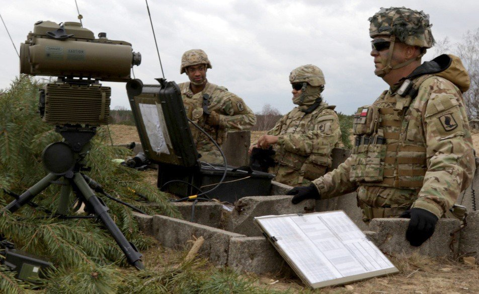 Soldiers with the 173rd Infantry Brigade Combat Team observe an impact zone from a forward observation point during Dynamic Front 2019 in Torun, Poland, March 5, 2019. The Army plans to pilot new tactical space technology during next spring's Defende... (