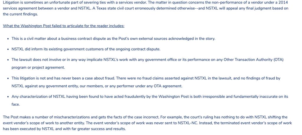Captura de pantalla del sitio web de NSTXL