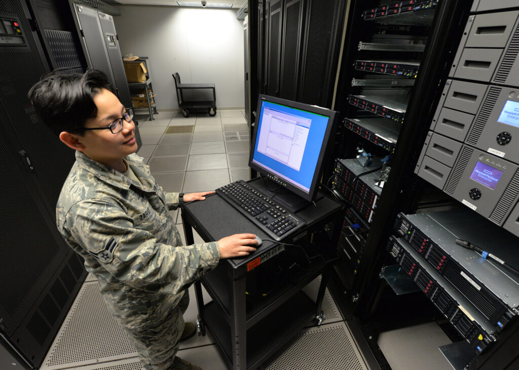 Airman First Class Sabrina Zarate, 88th Communication Squadron server operations system administrator, conducts a real time test on a Wright-Patterson Air Force Base computer server, May 11, 2017. The server operation team ensures maximum access capability to WPAFB computer systems with quick response solutions to operational malfunctions.(U.S. Air Force Photo by Al Bright/Released)